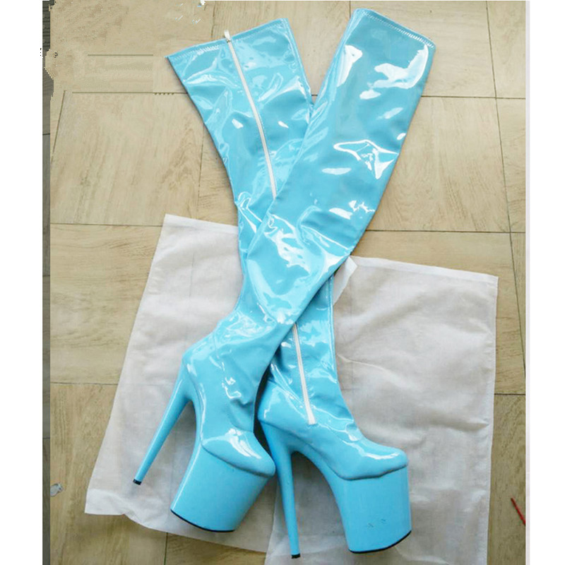 women Over the Knee Boots thigh Pointed Toe supper high heels colorful boots patent genuine leather platform boots heels punk