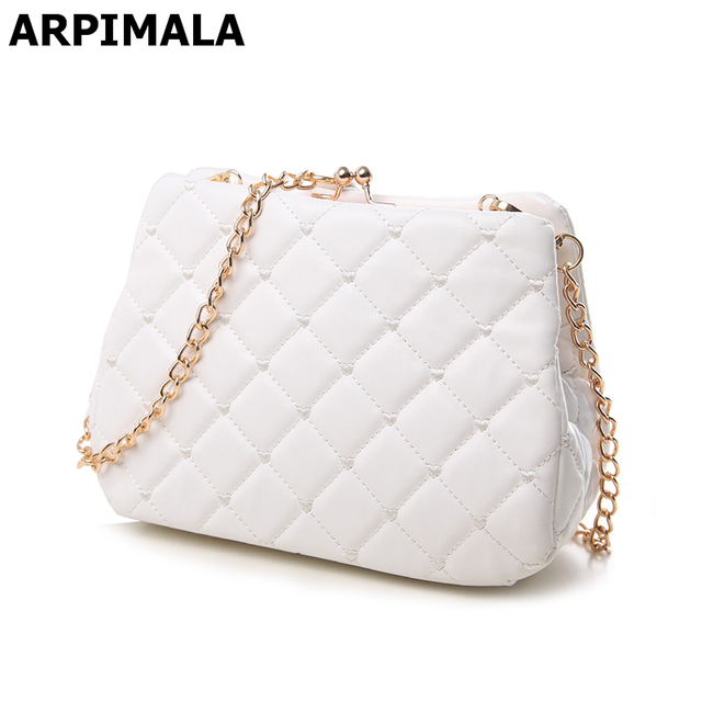Arpimala Quilted Day Clutches Women Chain Leather Handbags White Wedding Evening Bags Small Shoulder Bag Party