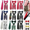 3PCS Baby Suspenders Children's Boys Bowtie Kid Suspender Set Elastic Adjustable Y-Back Braces Kids Ties Wedding HHtr0005