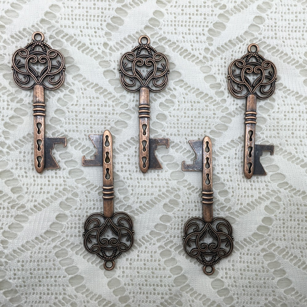 100pcslot newest design wedding favors and gifts diy accessories vintage antique copper skeleton key - Key Bottle Opener