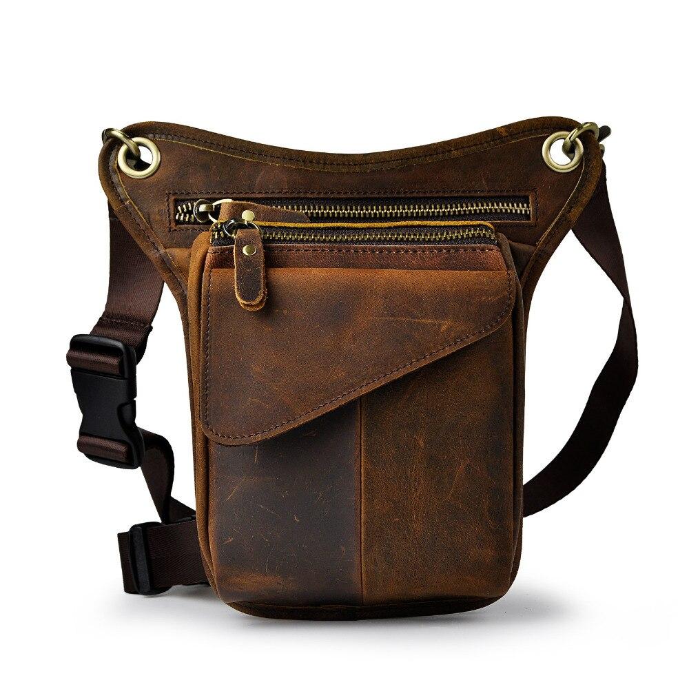 Original Leather Men Brown Casual Fashion Small Shoulder Messenger Bag Designer Travel Belt Waist Pack Drop Leg Bag Male 211-3-d