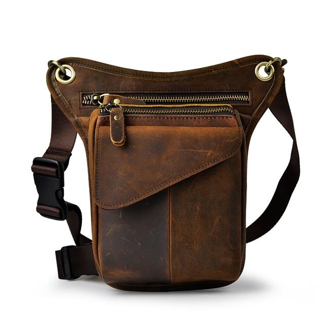 $ US $18.36 Original Leather men Brown Casual Fashion Small Shoulder Messenger Bag Designer Travel Belt Waist Pack Drop Leg Bag Male 211-3-d