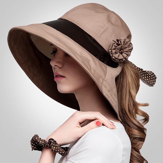 2016 Nueva Vanguardia Transparente del Coche Eléctrico Jinete cicyle Visera Gran Sombrero de Ala Del Verano Femenino Anti-Ultravioleta Del Sol Sombrero B-2290
