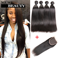 Amazing 10A Brazillian Straight Hair With Closure Rosa Hair Products Brazilian Virgin Hair Straight 4 Bundles With Closure Deals