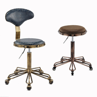 A1 Height Adjustable Nail Embroidery Chairs with High Elastic Sponge Retro Bronze Barber Chair Rotate Lift Beauty Stools