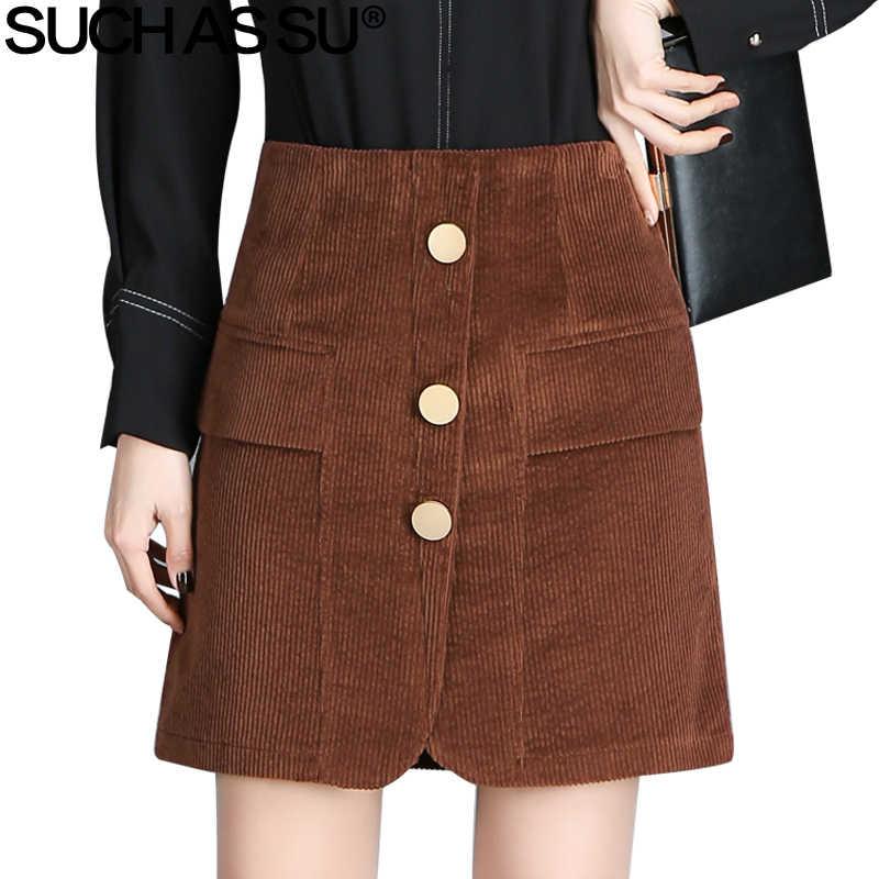 11a2e97638f SUCH AS SU New Summer 2018 Korean Style Corduroy Skirts Womens Brown Black  Button High Waist