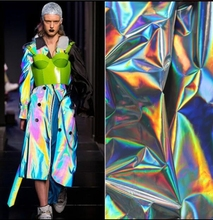 colorful laser thin TPU mirror fluorescent clothing bag waterproof polyester fabric dress textiles Sewing sequin C648