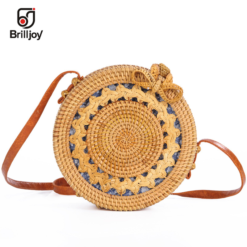 Brilljoy 2018 Bali Island Hand-Woven Round Straw Bag Handbags Women Summer Rattan Bag Bohemian Knitting Beach Handbag For Women ...