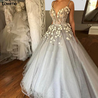 Plus Size Long Evening Dresses With Flower Appliques Beading Tulle Sexy Evening Prom Party Gowns robe de soiree High Quality