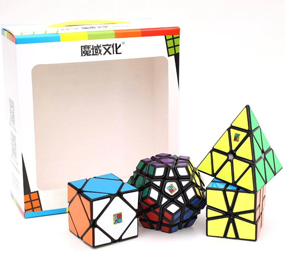 4 pcs Mo Yu Mo Fang Jiao Shi Pyramide SQ1 Skew Magique Jeu de Cube Puzzle Vitesse Cubes Jouets Éducatifs Cadeaux pour les Enfants Enfants