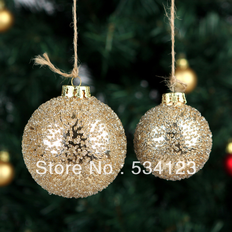 wholesale 10dia 6cm christmas decorations glass balls with golden particulate for xmas tree decorationgold xmas balls pendant in ball ornaments from home