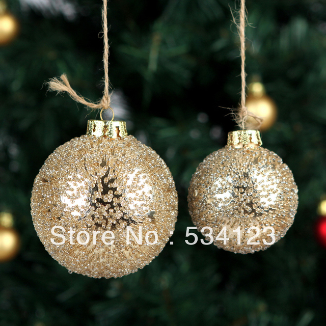 wholesale 10dia 6cm christmas decorations glass balls with golden particulate for xmas tree decoration - Glass Christmas Tree Decorations