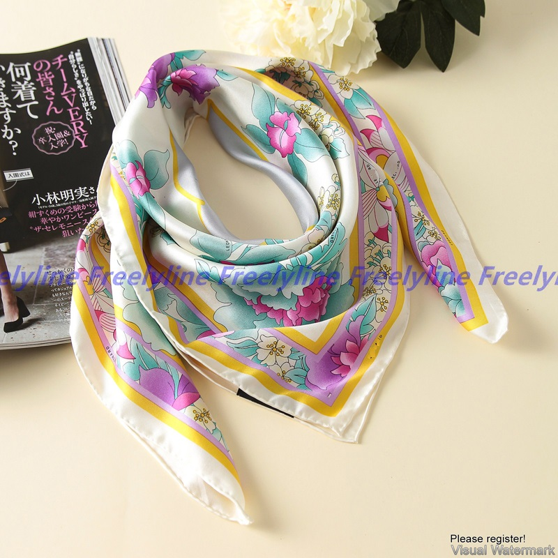 Image 4 - Floral Print 100% Silk Twill Scarf Bandana Hijab Women Fashion Square Silk Scarves Shawl Wraps Top Grade Hand Rolled Edge 90cm-in Women's Scarves from Apparel Accessories