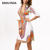 2017 Brand Sexy Open Chest Stand Neck Empire Fashion Printed Dress Summer Casual Ethnic Woman Dress