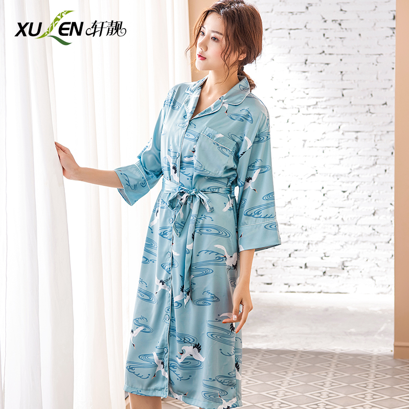 Women satin sleeping dress silk   nightgown   and   sleepshirt   plus size home wear female sexy kimono sleepwear hot bathrobe