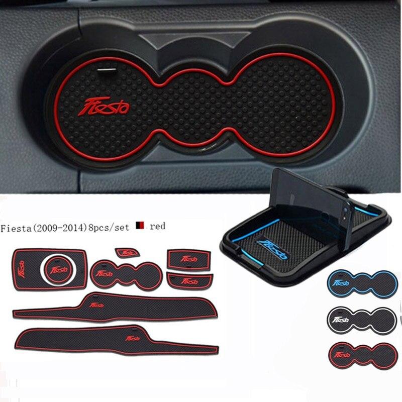 Für Ford Fiesta 2009-2014 Autozubehör 3D Gummi matte Innen Schalenauflage Tür Nut Matte Auto Handyhalter auto-styling