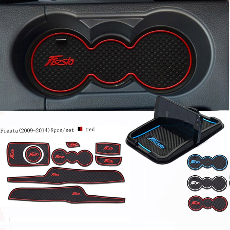 For Ford Fiesta 2009 - 2014 Car Accessories 3D Rubber Mat  Interior Cup Pad Door Groove Mat Car Phone Holder Car-styling