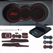 Для Ford Fiesta 2014-2009 автомобильные аксессуары 3D резиновый коврик интерьерная чашка коврик дверной паз коврик автомобильный держатель для телефона автомобиль-Стайлинг