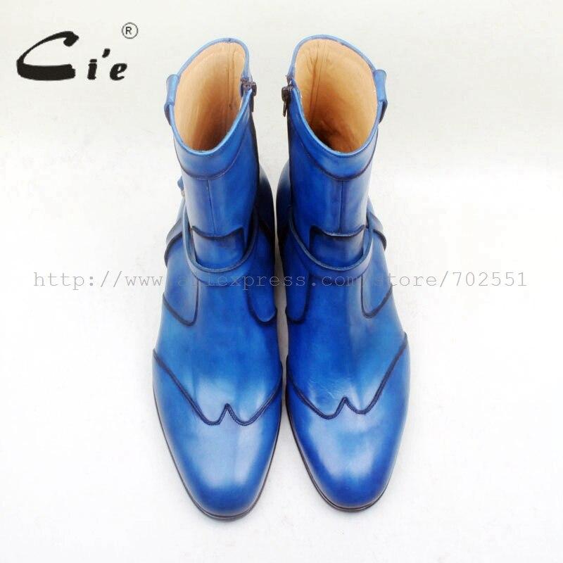 Pé De Dedo Homens Couro Com Mão W Azul Sola 100 Cie Boot Respirável pintado Genuíno Redondo Zíper Do A151 dicas Bota Bezerro Ankle fn7qxCZw