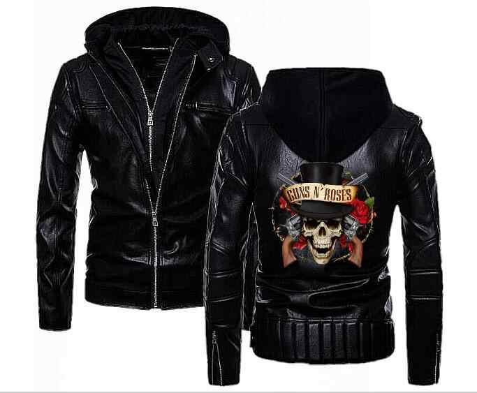 Модные Для Мужчин's Пистолеты N Roses кожа куртка с капюшоном в стиле панк Южной Змея Двойной молнии с капюшоном кожа локомотив двигатель кожаная куртка