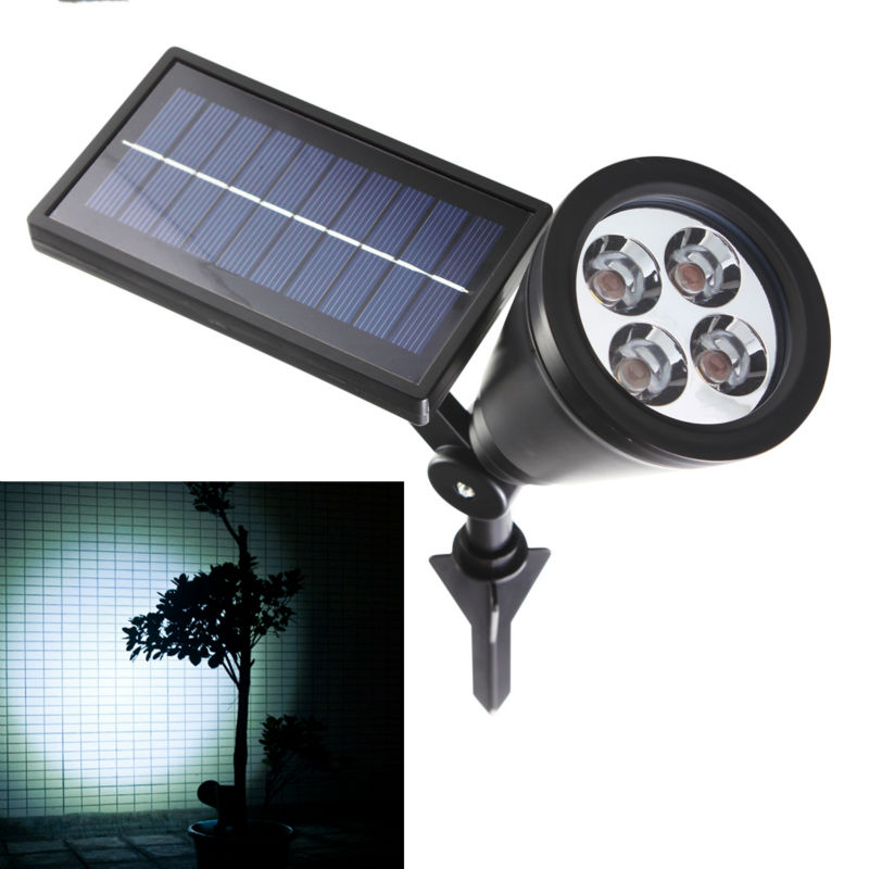 New Arrival Led Solar Ljus Utomhus 4 LED Solar Power Spotlight Garden Lawn Lamp Landskap Spot Lights