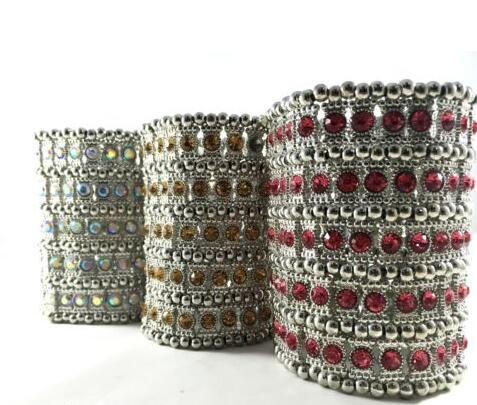 caeb700106c Mixed Silver 5ROW Crystal Stretched Elastic Strand Wrist Bangle Wristband  Cuff Bracelet Bangle Women Wedding Party Jewelry B386-in Charm Bracelets  from ...