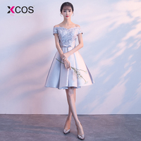 Xcos Cheap Short Homecoming Dresses Four Styles Mini Above Knee A line Silver Grey Short Satin Lace Homecoming Dress
