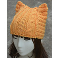 A004 Yellow Handmade Cute Cat Ear Meow Kitty Woman Wool Winter Hand Knit Cap  Warmer skully Beanie Hat