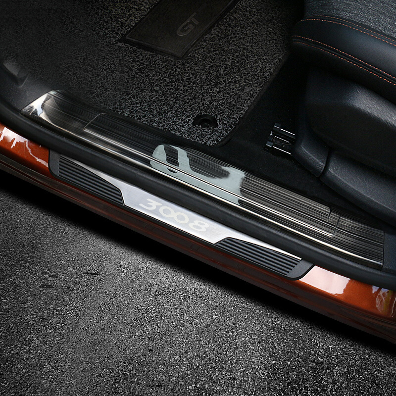 For Peugeot 3008 GT 2016 2017 2018 Auto Accessories Car Styling Door Sill Scuff Plate Threshold Panel Cover Trim