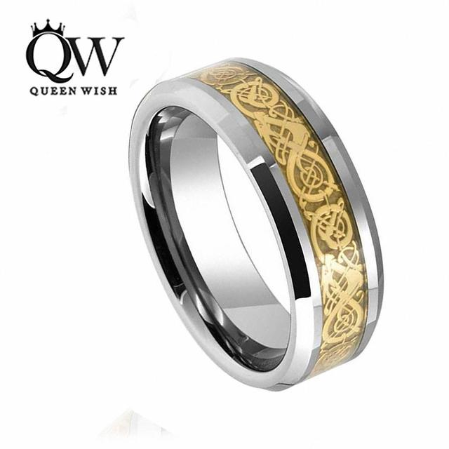 QUEENWISH 8mm Tungsten Carbide Ring Gold Celtic Dragon Engagement  Bands Black Friday Gifts