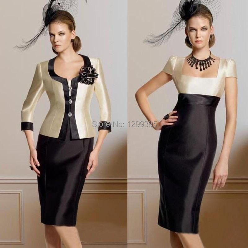 285ad76ac8f Champagne and Black Satin Mother of The Bride Dresses with Jacket Knee  Length Short Wedding Guest Dresses-in Mother of the Bride Dresses from  Weddings ...