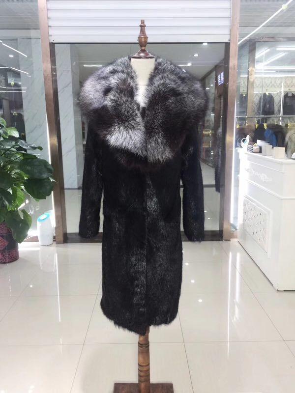 BFFUR 2018 New Women Real Mink Fur And Big Fox Fur Collar Winter Thick 100cm Long Genuine Fur Jackt Luxury Black Mink Fur