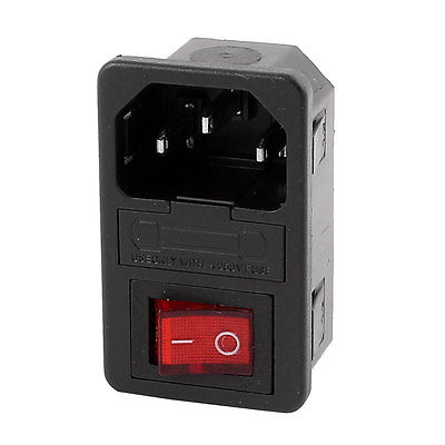AC 250V 10A 3 Terminals Red LED Rocker Switch Inlet Power Socket w Fuse Holder 660v ui 10a ith 8 terminals rotary cam universal changeover combination switch