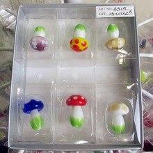 Wholesale custom color glass mushroom miniature sculpture Easter Home Furnishing gardening cartoon animal decoration set