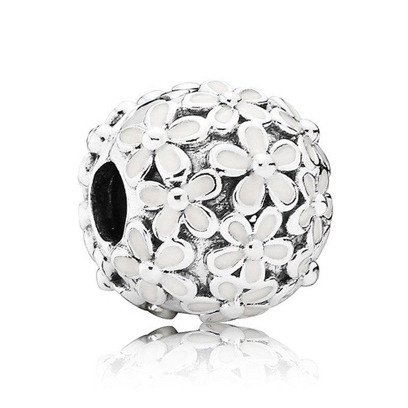 Authentic 925 Sterling Silver Bead Charm White Enamel Daisy Meadow Clip Stopper Beads Fit Pandora Bracelet Diy Jewelry