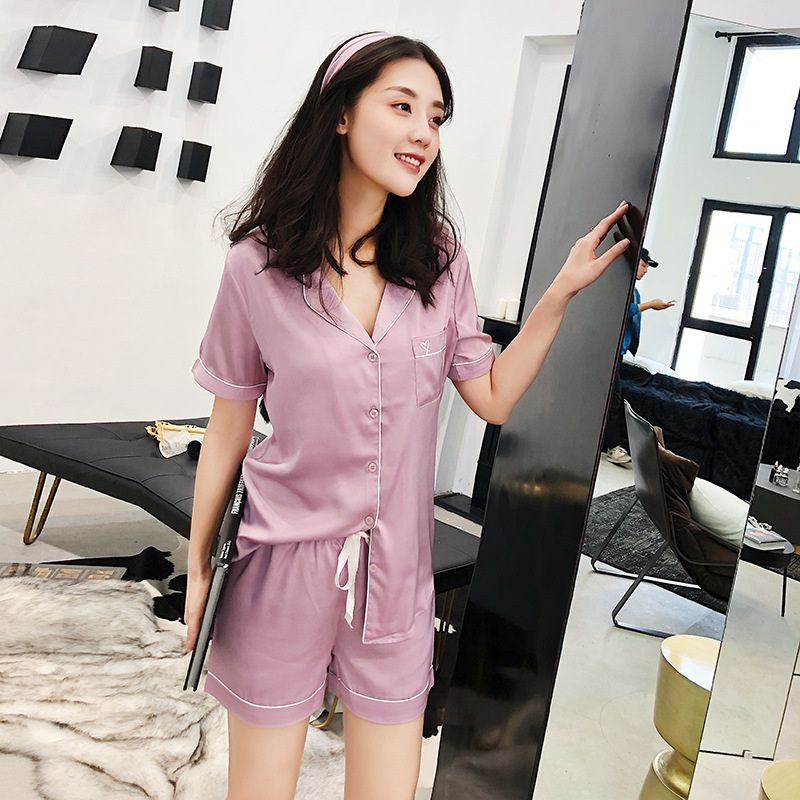 Sexy purple satins ice silk shorts   pajamas     sets   women summer Korea fresh women short sleeve shorts sleepwear women pyjamas