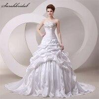 Elegant Strapless Taffeta Ball Gown Wedding Dresses 2016 100 Real Photo Sequins Beads Lace Ruffles Vestido