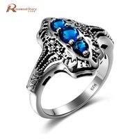 Fashion Vintage Oostenrijkse Crystal Ring Ronde Cut 2.3ct Blauwe Stenen CZ Verlovingsring Solid 925 Sterling Zilveren Sieraden Groothandel