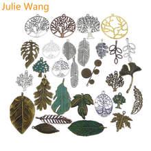 Джули Wang 10 шт случайно отправить Древо жизни в форме листа перо подвеска под бронзу, старину серебро Цепочки и ожерелья браслета ювелирных изделий Аксессуар
