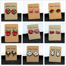 E098 Fashion Jewelry Cute Cartoon Rose Watermelon Cherry Stud Earrings For Women and Girls Creative Art Fruits Plants Earrings