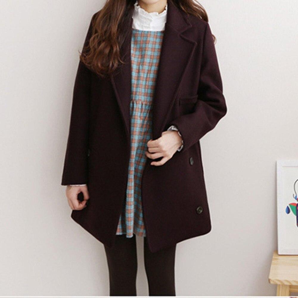 Women Woolen Coat Spring New Cotton Padded Warm Long Sleeve Turn-down Collar Cardigan Female Jacket Outwear Casaco Feminino muje