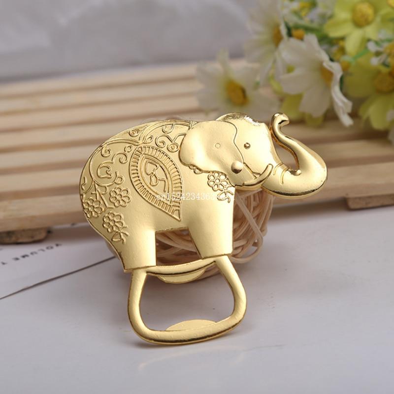 100pcs Golden Elephant Bottle Opener Wine Beer Openers Champagne Wedding Gifts Party Favor Elephant Opener