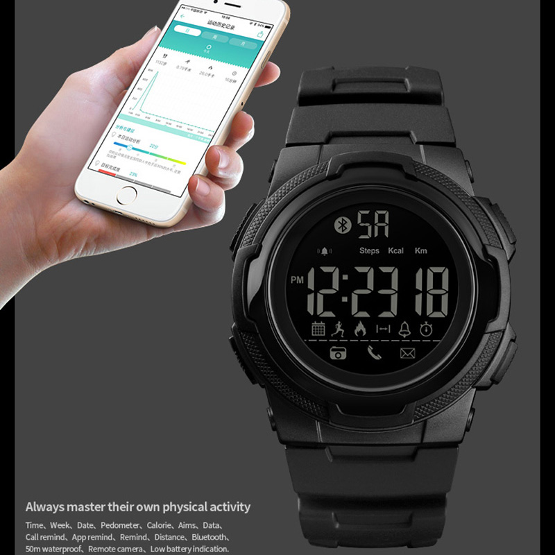 Uhren Skmei Männer Smart Uhr Calorie Pedometer Multi-funktionen Fernbedienung 50 M Wasserdichte Digitale Sport Männer Smartwatch Relogio Masculino Herrenuhren