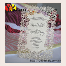 Tarjeta de menú para boda, mesa cortada con láser, tarjeta de menú para restaurante con servicio de impresión