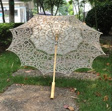 New Arrival! 4pcs/lot Lace ivory Parasol Umbrella for wedding Bridal full batten Belgian H108