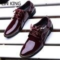 LIN REI Sapatos Novos Homens Sólidos Couro Envernizado Bico fino Vestido de Negócios Sapatos Oxfords Estilo Britânico Rendas Até Saltos Quadrados
