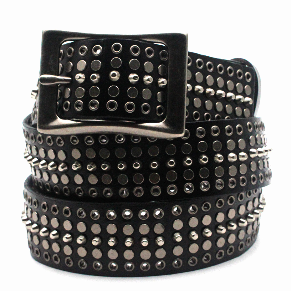 Mens Leather Belt in Black and White Real Leather with Fashion Luxury Metal Buckle