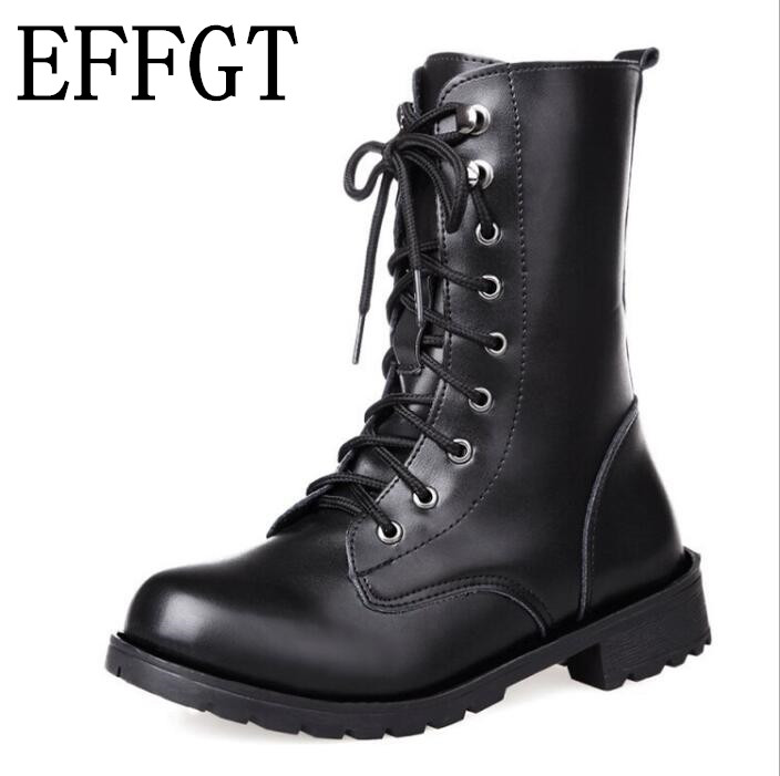 EFFGT 2019 Winter Women Leisure Martin Boots Winter Warm