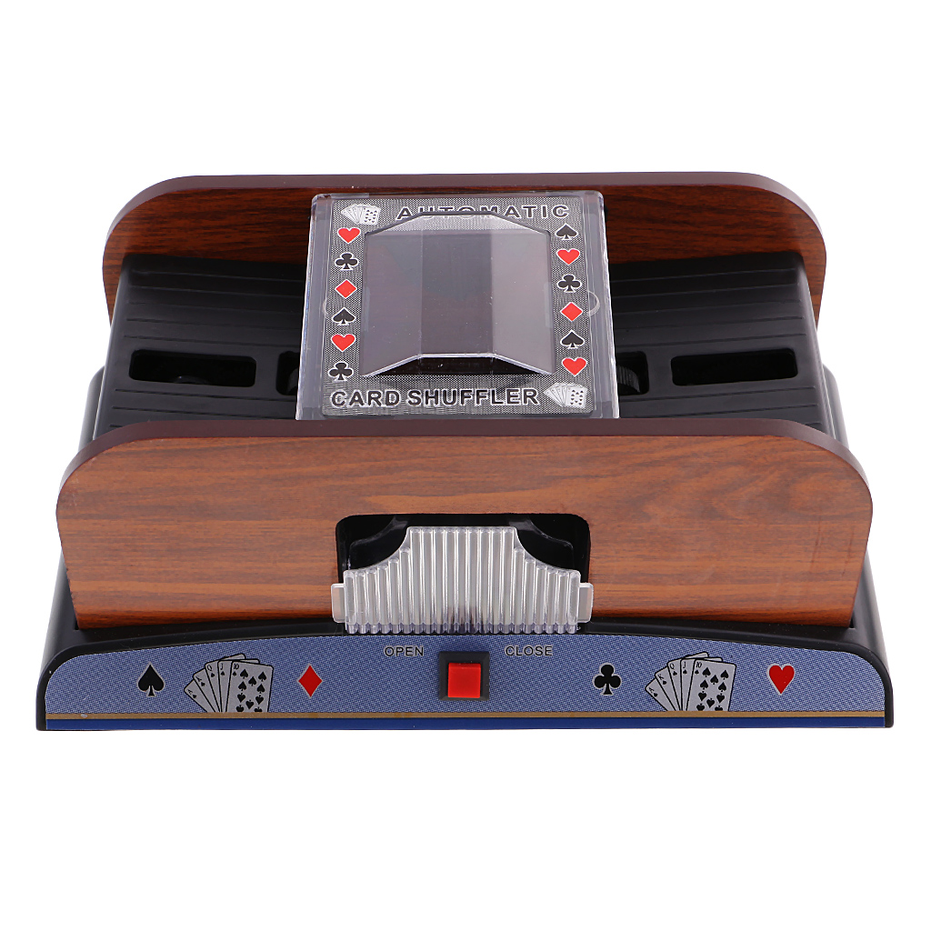 Wooden Automatic Playing Card Pocker Shuffler 2 Deck Casino Playing Cards Sorter Poker Game Props