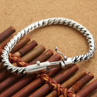 Handmade S925 Silver Chain Bracelet Vintage Thai Silver Man Bracelet Sterling Silver Male Bracelet Jewelry Gift